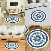 Compass Round Floor Mat Living Room Non Slip Carpet Area Rug Yoga Home Deco