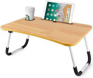 Folding Laptop Bed Tray Table Portable Lap Desk Notebook Breakfast Cup Slot UK