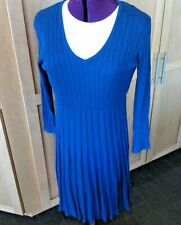 Dressbarn Dress Size XL Blue Pleated Soft Cable Knit Low V Neck Long Sleeves Fit