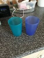 BEAUTIFUL VINTAGE SOLID GREEN AND BLUE WATER GLASSES IN GOOD CONDITION,BARGAIN 2