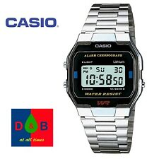 Casio Unisex Men's Ladies A-163WA-1QES SILVER Steel Band Digital Watch *USED*