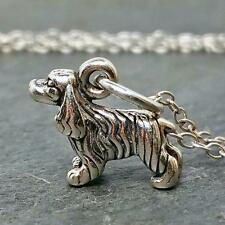 Tiny Cocker Spaniel Necklace - 925 Sterling Silver - Dog Puppy Charm Jewelry NEW