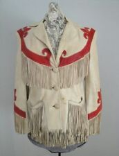 Women Tan Red Western Wear Suede Leather Jacket Cowgirl Fringed Leather Jacket