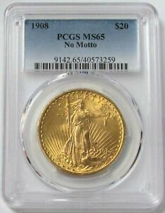 1908 GOLD USA $20 ST GAUDENS DOUBLE EAGLE NO MOTTO PCGS MINT STATE 65