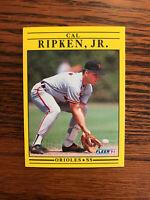1991 Fleer #490 Cal Ripken, Jr. Baseball Card Baltimore Orioles HOF Raw