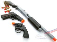 3x Toy Guns SWAT Pump-Action Shotgun Dart Black 9MM Pistol & Revolver Cap Guns