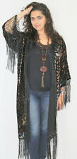 Art to  Wear Silk Burnout Velvet Fringe  Kimono Opera Coat Duster  Jacket   NWT