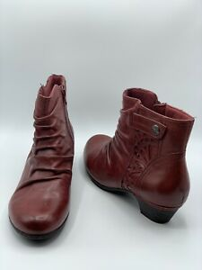 Rockport Cobb Hill Size 12 Abilene Red Bordeaux Leather Side Zip Ankle Booties