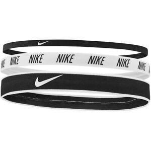 Nike Hairbands Mens Womens Head Bands 3 Pack Black White Black Mixed Width New