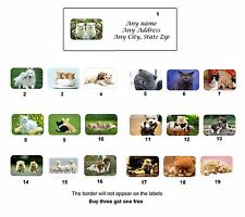 30 Personalized Return Address Cute Animals Labels Buy 3 get 1 free (ca3)