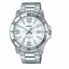 Casio MTP-VD01D-7B Men's Stainless Steel Bracelet Watch WHITE Date Dial 50M NEW