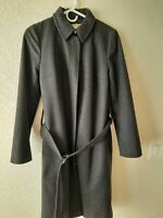 J Crew Gray Cloth Wool Blend Trench Coat Size Small Gray Front Zip Lined Pockets