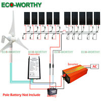 ECO Hybrid Wind Turbine System 500W 600W 1KW Kit 12V 24V off Grid Power Charge