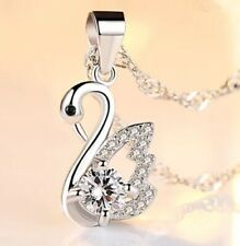 Fashion 925 Sterling Silver White Crystal Swan Pendant Necklace Women's Jewelry