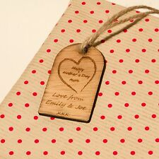 Rustic Wooden Mother's Day Gift Tag With Personalised Message. Genuine Hardwood