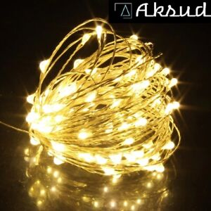 2m 20LED Battery Operated Silver Copper Wire String Fairy Lights Outdoor Decor