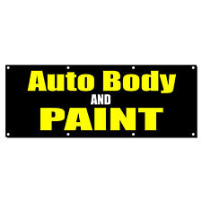 AUTO BODY AND PAINT CAR BODY SHOP REPAIR Sign Banner 4' x 8' w/ 8 Grommets