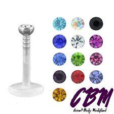 "16g 5/16"" Bioplast Soft Labret Lip Monroe Tragus Ring Stud Bioflex Clear 2mm Gem"
