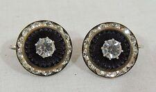 "Vintage Round Black & Crystal Rhinestone Clip On Earrings 3/4"""
