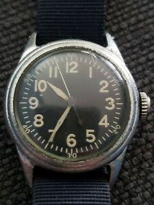 Original Elgin Type A-11 WW II Military Wrist Watch, No Redial, Outstanding!