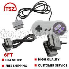 For Original Super Nintendo SNES Video Game Pad Controller + 6ft Cable Cord Plug