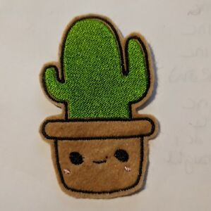 Cactus in a pot embroidered patch iron or sew on