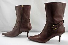 Circa Joan & David Daniella Brown Leather Side Zip Ankle Boots - 7M