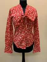 TM Lewin Shirt Pink Cotton Blouse Size 8 White Floral Pattern Tie Neck New Tags