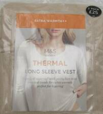 PACK OF 2 PAIRS SIZE 20 CAMEL THERMAL LONG SLEEVE VESTS MARKS AND SPENCER