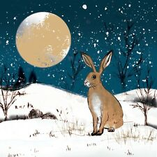 10 x Moonlit Hare Christmas Cards for Royal Trinity Hospice Charity Gold Foil