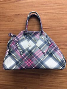 Leather Multi-color Derby Tartan Cotton Coated In Pvc Tote