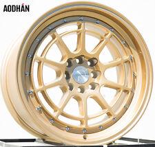 AODHAN AH04 17X9 4X100/114.3 ET25 FULL GOLD FITS CIVIC CRX 200SX MR2 XA CELICA