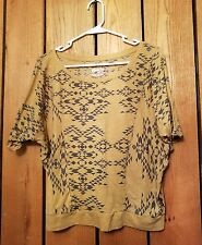 Womens Size L  Mambo Short Sleeve Aztec Cropped Blouse