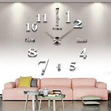 Modern Frameless Large 3D DIY Wall Clock Kit Decoration Home Living FAST SHIP