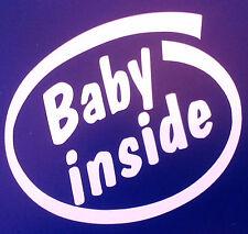 """""""bebé dentro"""" Pegatinas Coche Furgoneta Parachoques Ventana Calcomanía 140mm X 155mm Blanco 5102"""