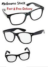 Classic Retro Glasses - Black Frame / Clear Lens - Nerd - FREE POST AUS