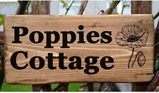 Poppie House Gate Sign Plaque Door Number Personalised Name Plate Cottage poppy