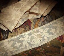 1.8 yds Antique Vintage Circa 1920s Cherubs Ecru & Pink Net Insertion Lace Trim