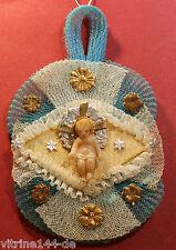 CBS Ornament WACHSJESUSKIND Engel Dresdner Pappe Gaze um 1890 Weihnachtsschmuck