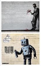 Banksy TWO canvas 8 x 10 Prints street art graffiti New York Robot Man Flowers