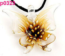 Lifelike Butterfly handwork art lampwork glass beaded pendant necklace p323