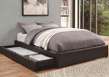 NEW CONRAD BLACK BYCAST LEATHER QUEEN PLATFORM BED w/ STORAGE DRAWER
