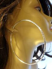 LARGE HOOP EARRING 3.5 INCH HOOPS CLASSIC HOOP EARRINGS SILVER TONE EARRINGS