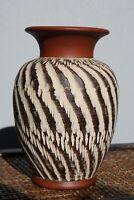 """Vintage 1970s SAWA / WEKARA Keramik German Pottery Sgraffito Vase MCM 6"""""""