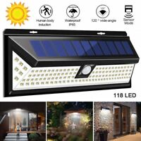 118 LED Solar Powered Motion Sensor PIR Wall Security Light Lamp Garden Outdoor