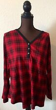 Chaps Red Plaid Pullover Women's Top New With Tags Size 3X 100% Cotton