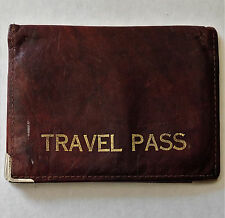 Vintage travel pass holder Real leather wallet for bus pass rail season ticket