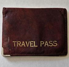 Paso titular de viaje vintage de cuero auténtico tipo billetera para carril de paso de bus Season ticket