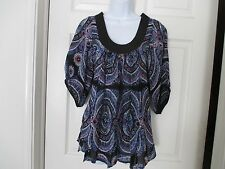 PLENTY by Tracy Reese Anthropologie blouse shirt Size P blue design