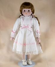 """Chatelaine Porcelain Girl Collector's Doll 15.5"""" Brown Hair & Eyes"""